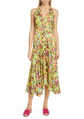 SALONI Rita Floral Print Shark Bite Hem Midi Dress