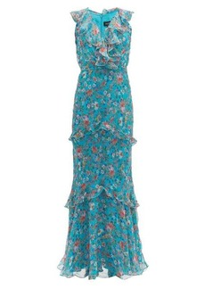 Saloni Rita floral-print silk crepe de Chine maxi dress