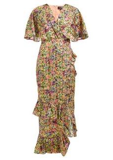 Saloni Rose floral-print silk-blend lamé dress