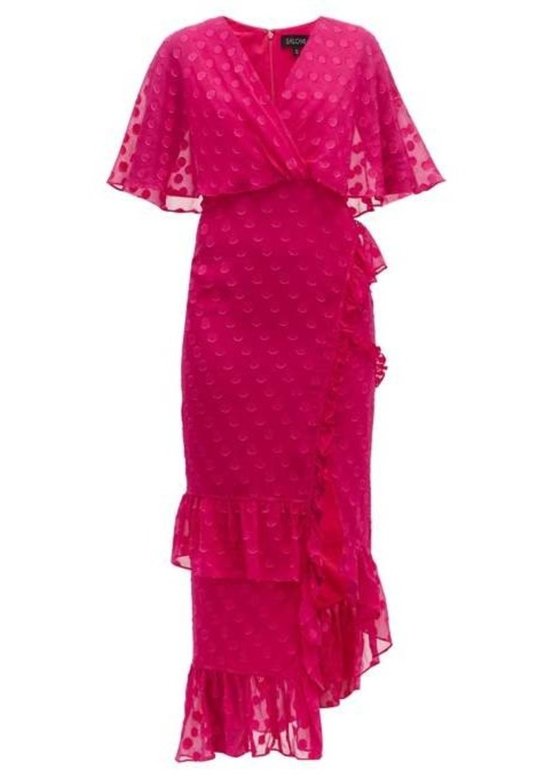 Saloni Rose ruffled polka-dot silk-blend dress