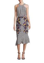 SALONI Ruby Silk Blouson Midi Dress