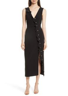 SALONI Ruffle Button Midi Dress