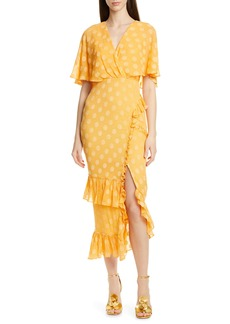 SALONI Ruffle Hem Silk Blend Dress