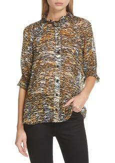 SALONI Skye Leopard Print Silk Top