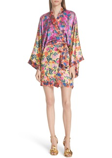 SALONI Suki Mixed Floral Silk Wrap Dress