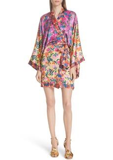 SALONI Suki Mixed Floral Silk Wrap Dress