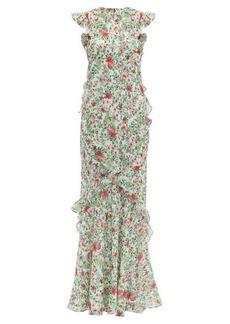 Saloni Tamara floral-print silk-chiffon dress