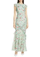 SALONI Tamara Floral Print Silk Maxi Dress