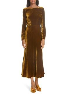 SALONI Tina Cowl Back Velvet Dress