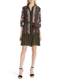 SALONI Tyra Print Silk Fit & Flare Dress