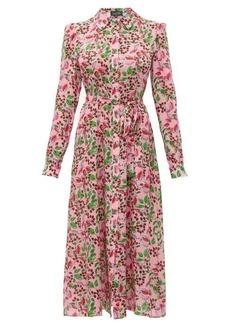 Saloni Vanessa berry-print silk midi dress