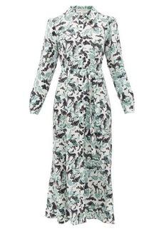 Saloni Vanessa jungle-print silk shirt dress