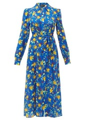 Saloni Vanessa lemon-print silk midi dress