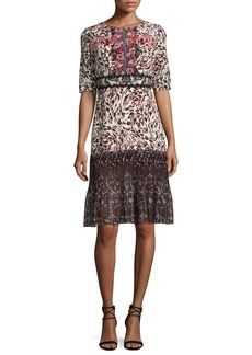 Saloni Vera-C Round-Neck Half-Sleeve Midi Dress
