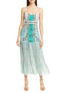 SALONI Veronica Jungle Print Silk Midi Dress
