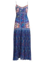 Saloni Veronica sleeveless begonia-print silk dress