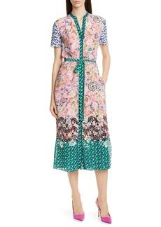 SALONI Vicki Print Silk Midi Dress