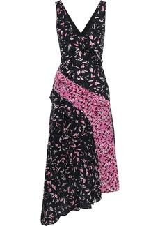 Saloni Woman Aggie Paneled Printed Silk Crepe De Chine Midi Dress Navy