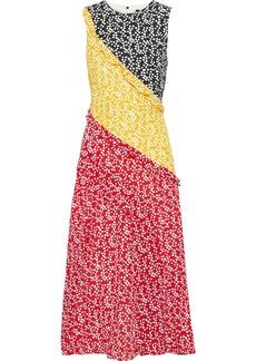 Saloni Woman Agnes Ruffle-trimmed Printed Silk Crepe De Chine Midi Dress Multicolor