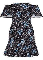 Saloni Woman Amelia Off-the-shoulder Ruffled Floral-print Cady Mini Dress Black