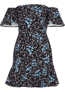 Saloni Woman Amelia Off-the-shoulder Ruffled Floral-print Cady Mini Dress Black