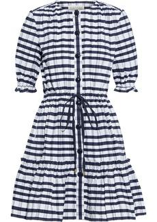 Saloni Woman Billie C Tiered Checked Cotton-seersucker Mini Dress Navy