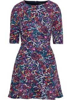 Saloni Woman Celia Floral-print Cady Mini Dress Violet