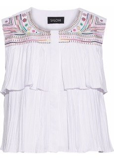 Saloni Woman Cleo Embroidered Pleated Poplin Top White