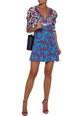 Saloni Woman Colette Floral-print Silk Crepe De Chine Mini Dress Turquoise