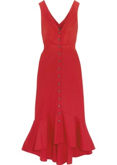 Saloni Woman Cutout Fluted Stretch-cotton Poplin Midi Dress Red