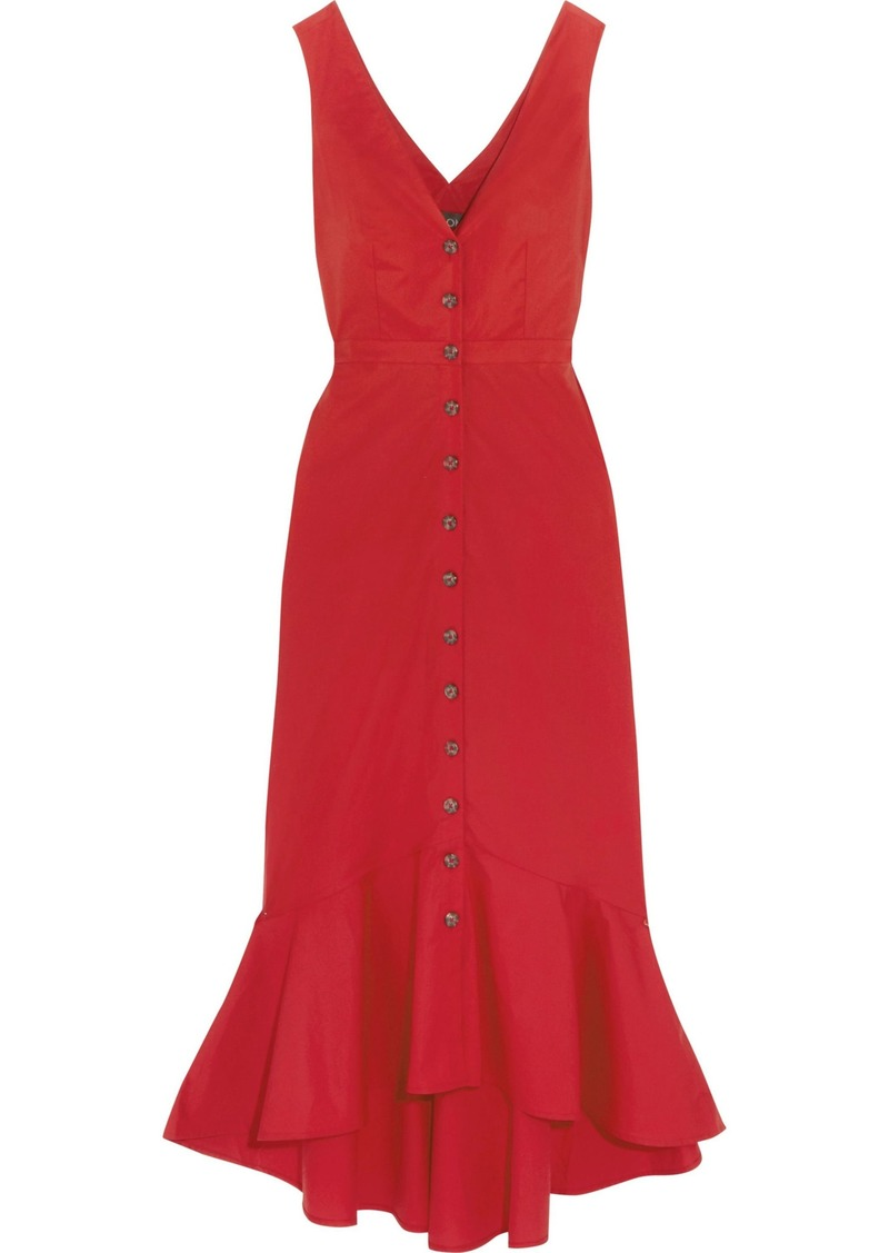 Saloni Woman Cutout Fluted Stretch-cotton Poplin Midi Dress Red