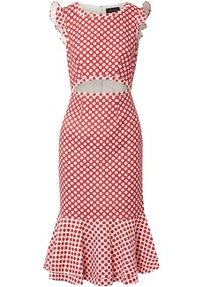 Saloni Woman Cutout Polka-dot Stretch-crepe Dress Red