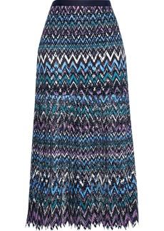 Saloni Woman Diana C Pleated Guipure Lace Midi Skirt Multicolor