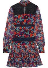 Saloni Woman Dina Lace-paneled Printed Washed-silk Mini Dress Multicolor