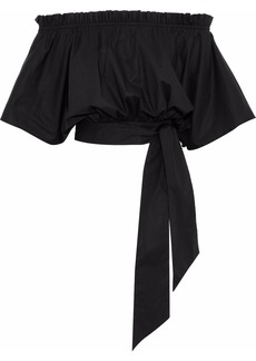 Saloni Woman Drew Off-the-shoulder Stretch-cotton Poplin Top Black