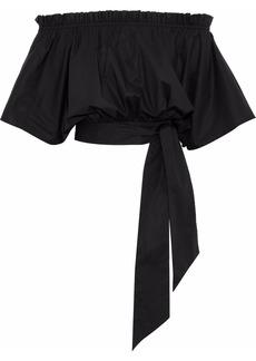 Saloni Woman Drew Off-the-shoulder Stretch-cotton Poplin Top Black