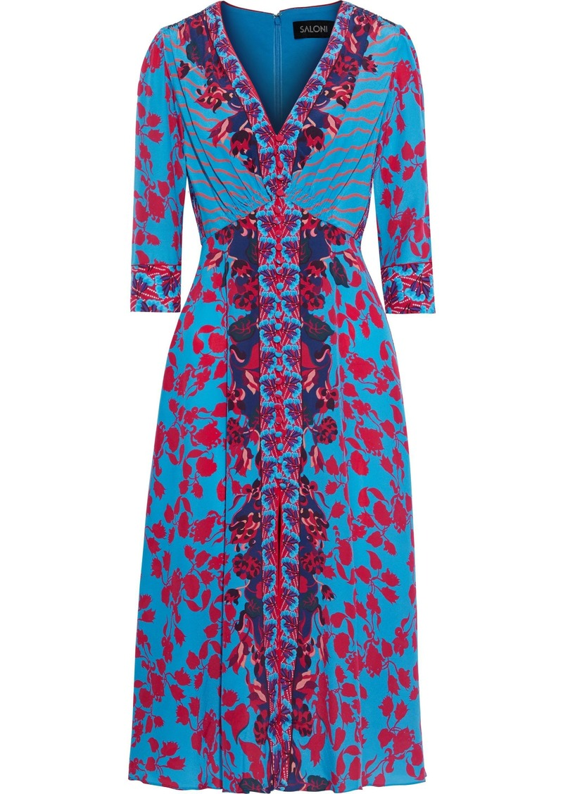 Saloni Woman Eve Button-detailed Floral-print Silk Crepe De Chine Dress Turquoise