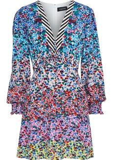 Saloni Woman Eve Shirred Printed Silk Crepe De Chine Mini Dress Multicolor