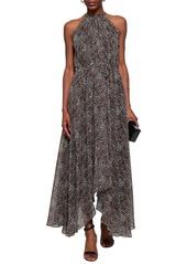 Saloni Woman Irina Leopard-print Chiffon Halterneck Midi Dress Animal Print