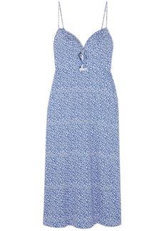 Saloni Woman Jana Cutout Printed Cotton-blend Midi Slip Dress Blue