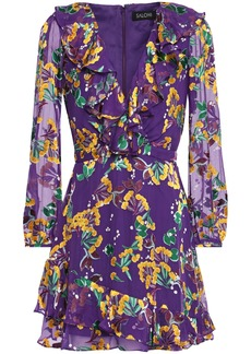 Saloni Woman Jodie Ruffle-trimmed Floral-print Devoré-velvet Mini Dress Purple