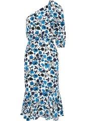 Saloni Woman Juliet One-shoulder Floral-print Silk Crepe De Chine Midi Dress Azure