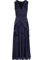 Saloni Woman Lara Ruffle-trimmed Fil Coupé Silk-blend Chiffon Midi Dress Storm Blue