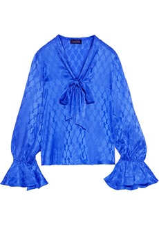 Saloni Woman Lauren Pussy-bow Silk-satin Jacquard Blouse Cobalt Blue