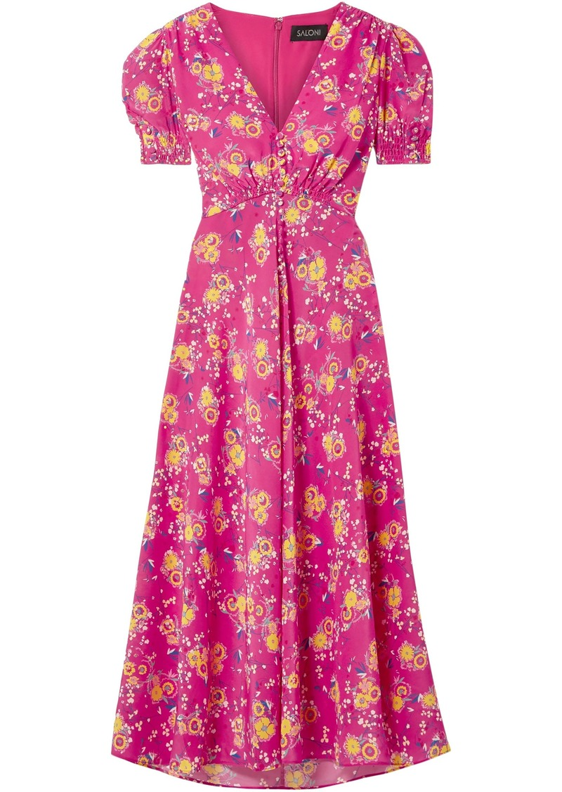 Saloni Woman Lea Floral-print Silk Crepe De Chine Midi Dress Fuchsia