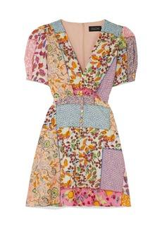 Saloni Woman Lea Patchwork-effect Printed Cotton-blend Seersucker Mini Dress Multicolor