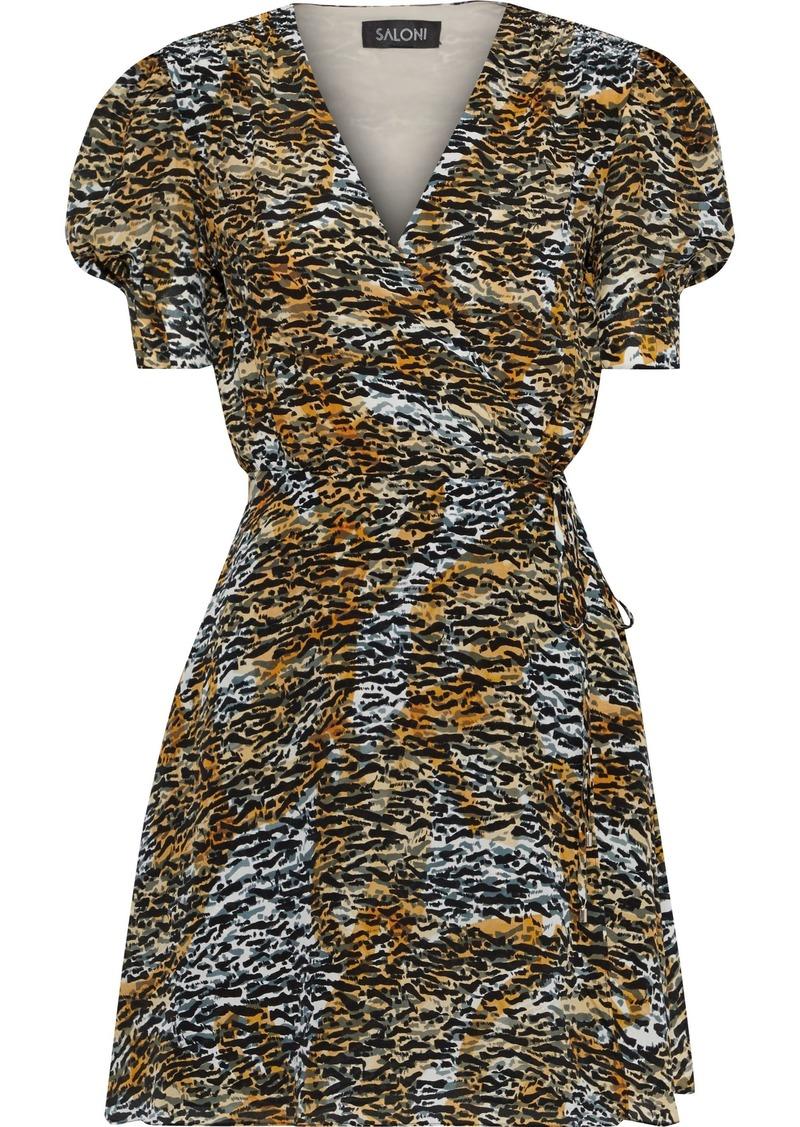 Saloni Woman Lea Printed Silk Crepe De Chine Mini Wrap Dress Multicolor
