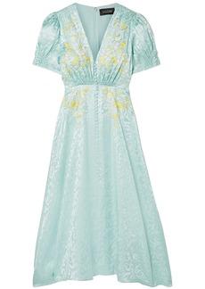 Saloni Woman Lea Shirred Embroidered Silk-satin Jacquard Midi Dress Mint