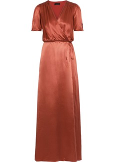Saloni Woman Lea Silk-charmeuse Maxi Wrap Dress Antique Rose
