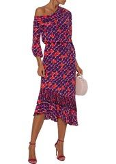 Saloni Woman Lexie One-shoulder Printed Silk Crepe De Chine Midi Dress Multicolor